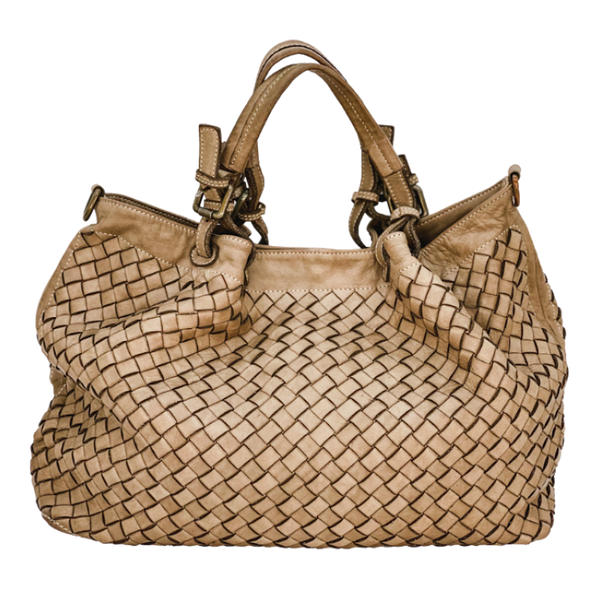 Stella Italian Leather Woven Bag-Large-Pink, Taupe, Brown, Cognac
