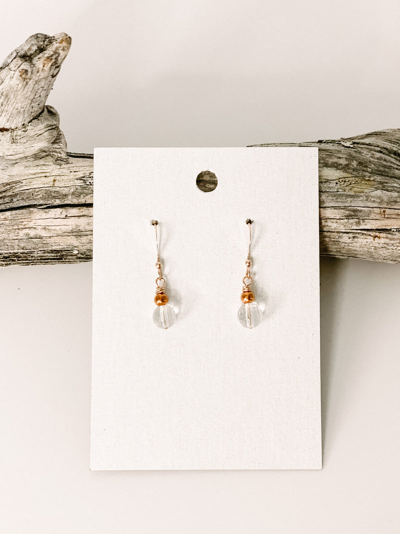 Rose Gold Filled Clear Quartz Earrings