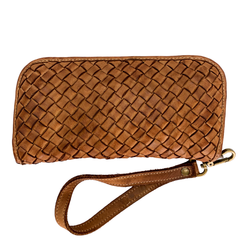 Thea Italian Leather Woven Wallet