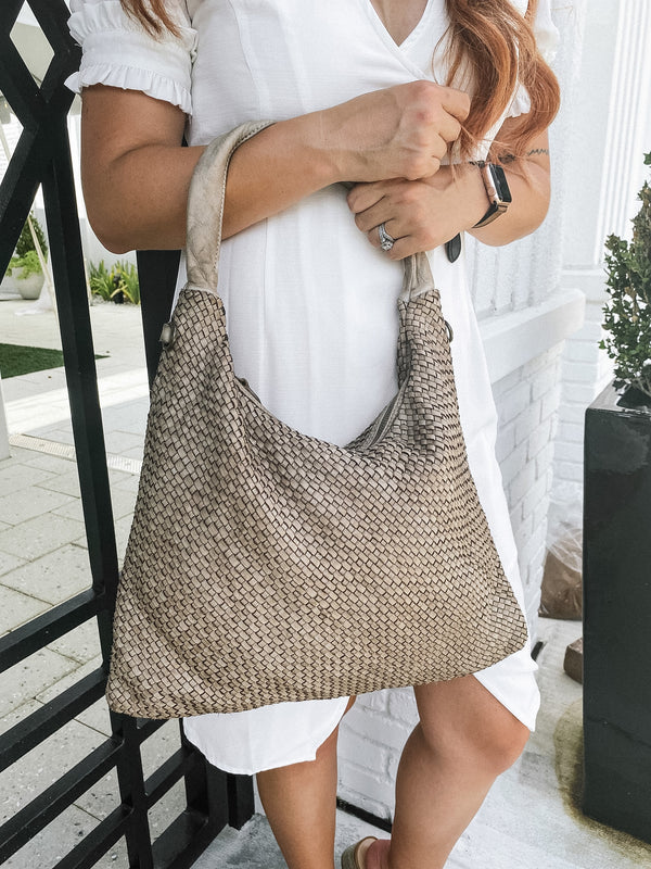 Tess Italian Leather Weave Hobo