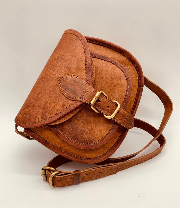 Bree Vintage Style Leather Crossbody