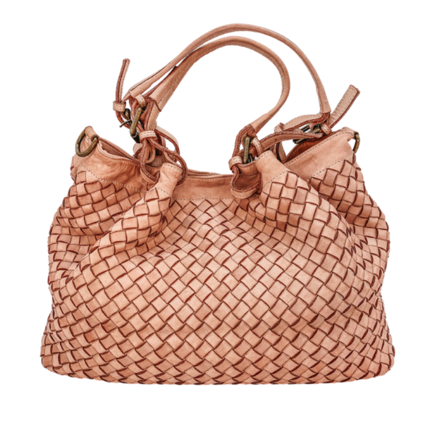 Stella Italian Leather Woven Bag-Medium-Pink