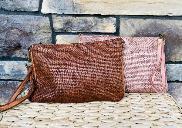 Sophie Italian Leather Clutch & Crossbody