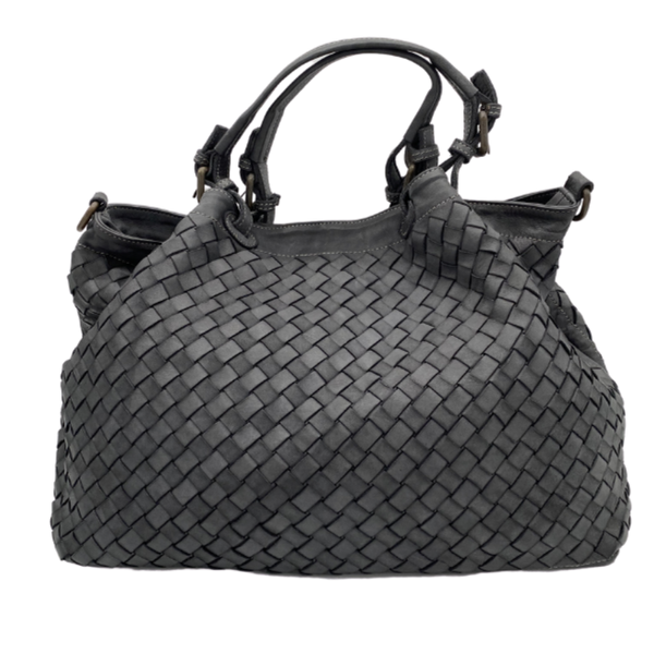 Stella Italian Leather Woven Bag-Large-Gray