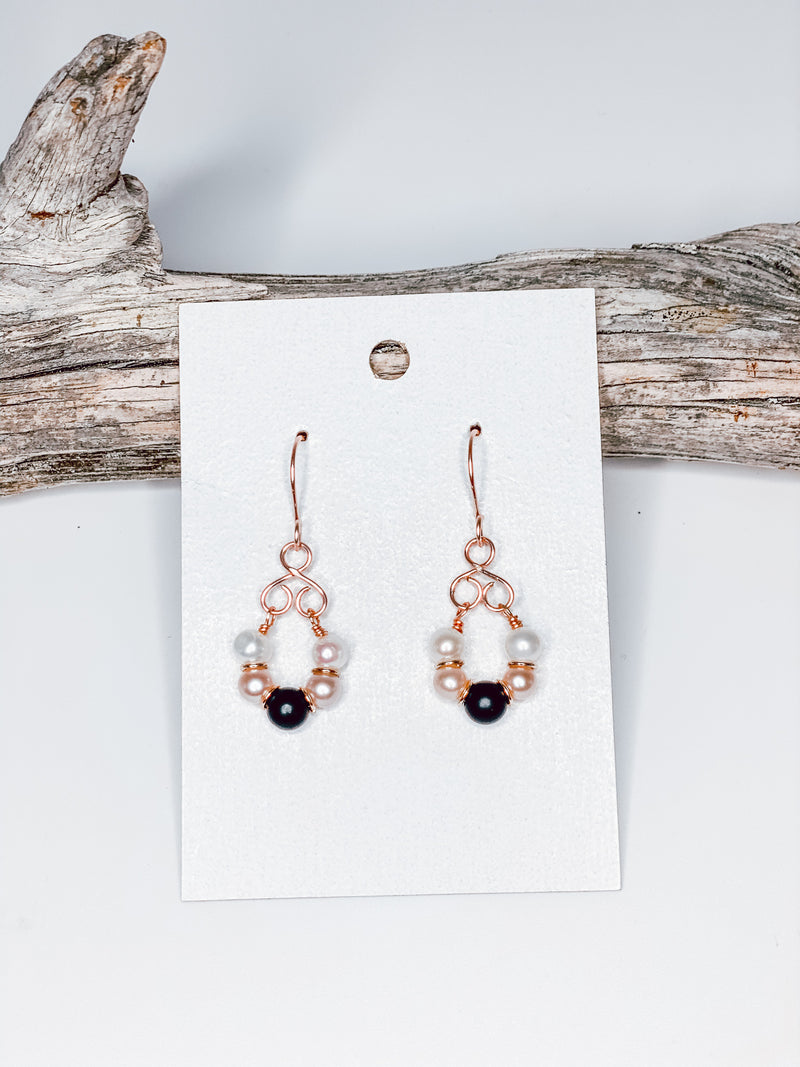 Rose Gold Filled Onyx and Freshwater Pearl Earrings