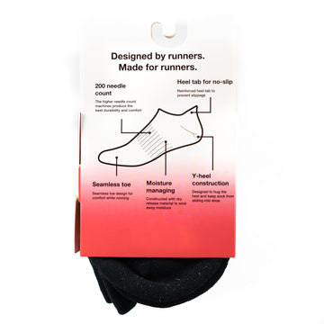 Black No Show Ankle Socks - No-Slip Heel