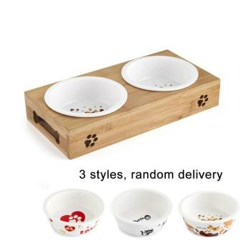 Ceramic Feeding and Drinking Bowls Combination with Bamboo Frame - Pampered Paws.shop
