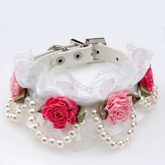 Crystal Rhinestone Buckle Design Rose Lace Pearl Collar - Pampered Paws.shop