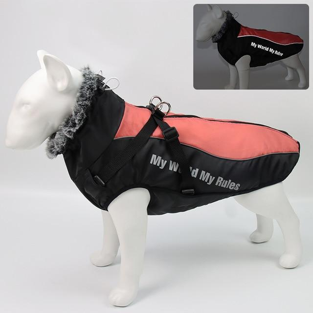 Large Dog Jacket with Faux Fur - Pampered Paws.shop