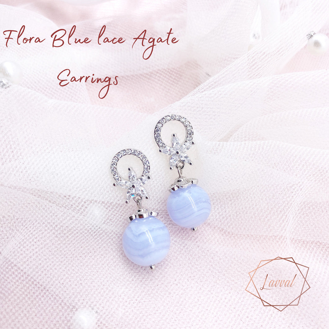 FLORA EARRINGS(BLUE LACE AGATE)