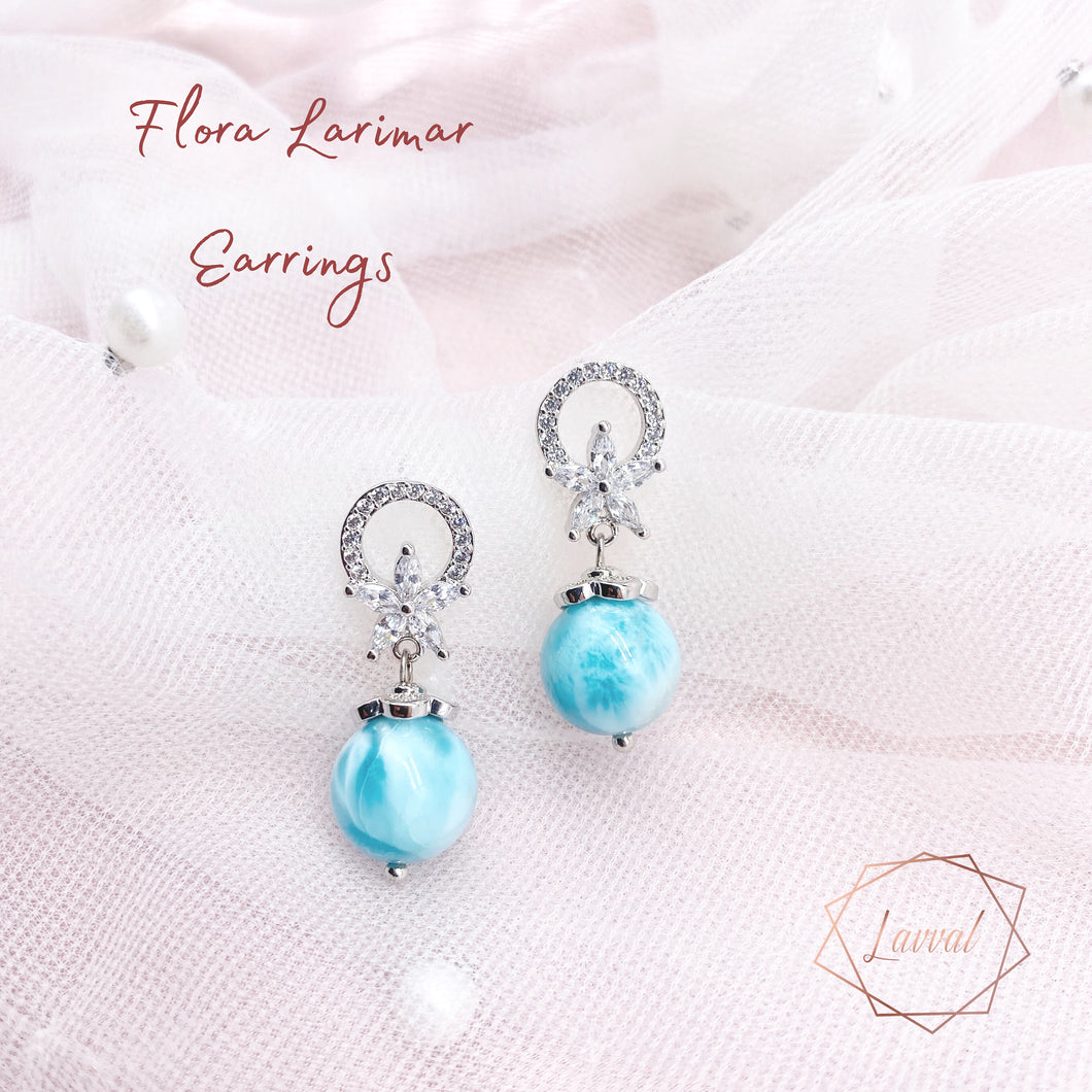 FLORA EARRINGS(LARIMAR)