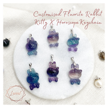 Load image into Gallery viewer, FLUORITE RABBIT KITTY x HOROSCOPE KEYCHAIN/BAG CHARM
