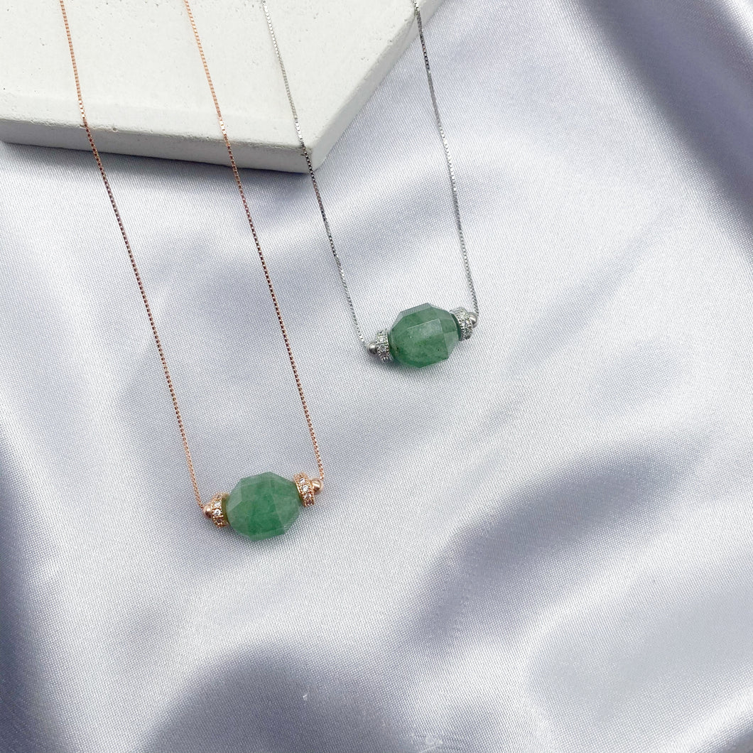 GREEN STRAWBERRY QUARTZ SOLITAIRE CRYSTALHEDRA