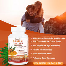 Load image into Gallery viewer, Turmeric-Curcumin with Bioperine Highest-Potency Available Ultra High-Absorption 700mg Anti-Inflammatory & Joint Healthy, Back Pain Relief Support with Water-Soluble-Curcumin 90 Counts