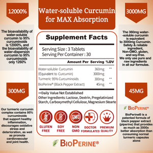 Turmeric-Curcumin with Bioperine Highest-Potency Available Ultra High-Absorption 700mg Anti-Inflammatory & Joint Healthy, Back Pain Relief Support with Water-Soluble-Curcumin 90 Counts