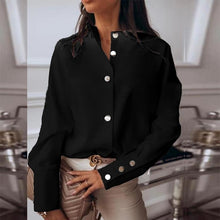 Load image into Gallery viewer, Women Autumn Metal Button Basic Shirts blouse Long Sleeve Tops