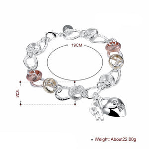 J- Bracelet Two Tone in 18K White Gold Plated