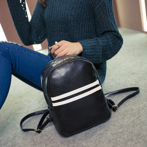 Backpack Women Fashion Stripe leather