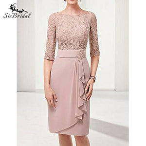 W-Sheath/Column Bateau Knee Length Polyester Mother of the Bride Dress with Lace