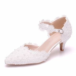 W-Large size women's shoes white lace high heels banquet wedding shoes bridal shoes pointed sweet wild single shoes