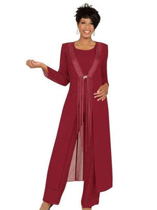 W- Three Piece Crimson Mother Of The Bride Pant Suits With Jacket Chiffon Custom Made Long Sleeve Wedding Guest Dress