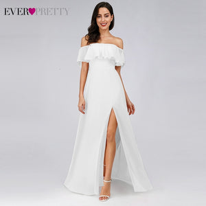 Simple White Wedding Dresses Ever Pretty EP00968WH A-Line Off The Shoulder Ruffles Side Split Elegant Beach Style Bride Gowns
