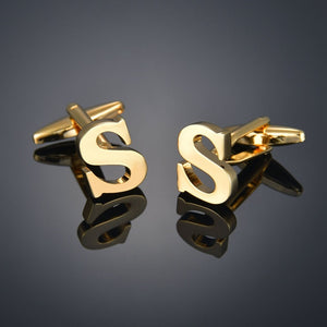 J-Quality Gold Color Cufflinks Letters/Alien/Square/Dragon/Maple leaves/Balance/Name Cuff Links for mens French bouton manchette
