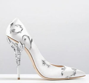 W-Luxury Women Shoes White pointe shoes Flower Heel Wedding Shoes Women Elegant Silk Brand Design heel shoes Ladies high heels