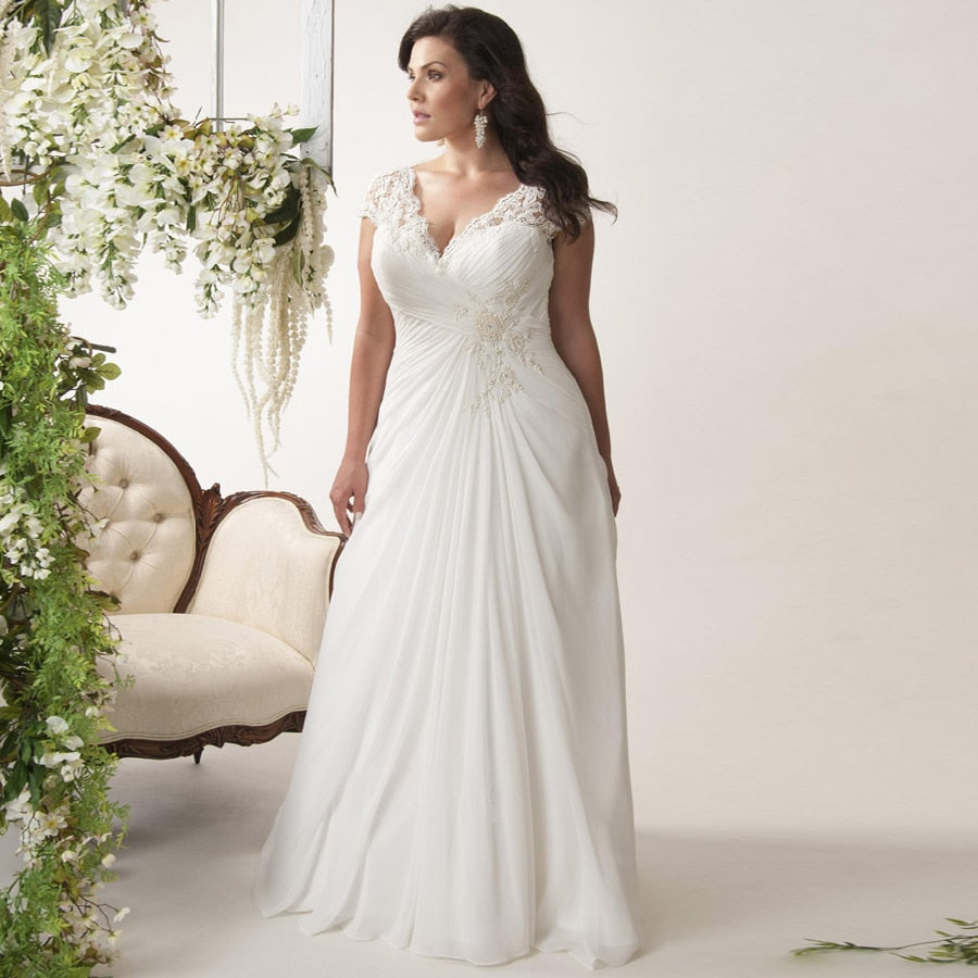 Elegant Plus Size Wedding Dresses V-neck Cap Sleeves Robe de Mariage Sweep Train Appliqued Open Back Chiffon Bridal Gown