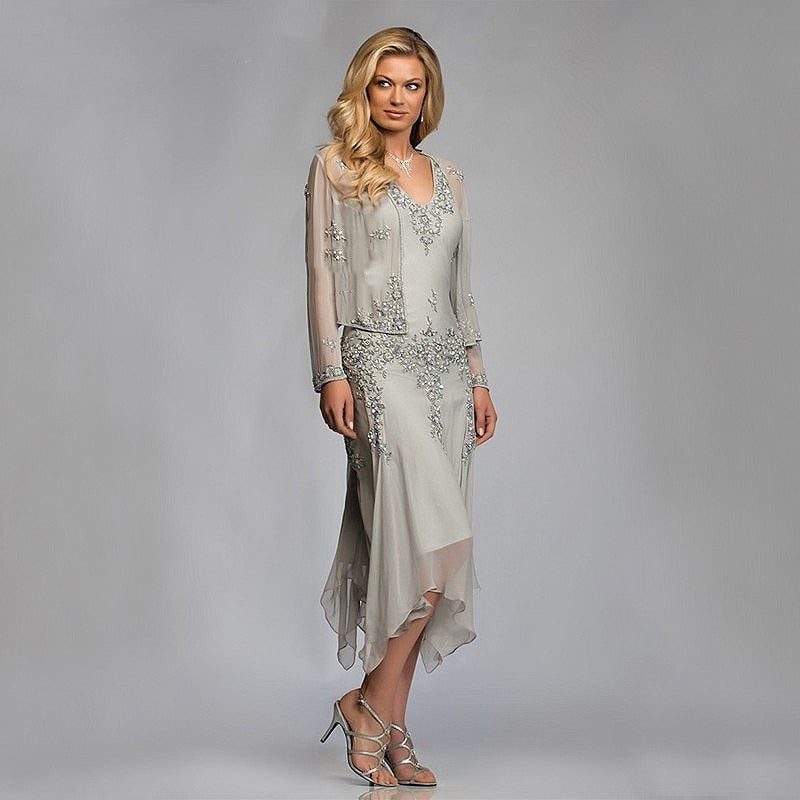 W-Silver Chiffon Mother of the Bride Groom Dresses with Jackets 2019 for Summer Wedding Party Gowns Tea Length Lace Godmother