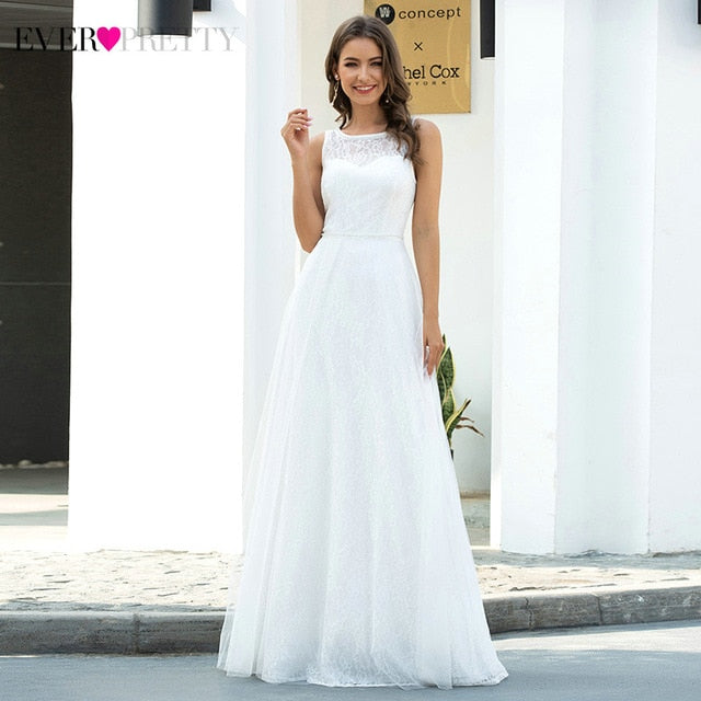 Illusion Lace Wedding Dresses Ever Pretty A-Line O-Neck Sleeveless Draped Tulle Elegant Formal Bride Gowns Vestido De Noiva 2020