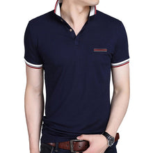 Load image into Gallery viewer, S-BROWON Casual Summer Short Sleeve T-shirt Turn-down Collar Business Formal T-shirt Slim Fit Men Clothes Plus Size