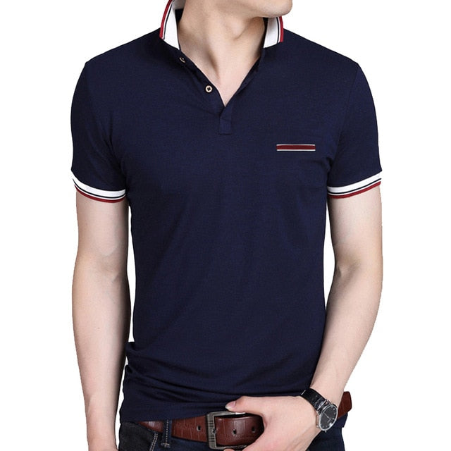 S-BROWON Casual Summer Short Sleeve T-shirt Turn-down Collar Business Formal T-shirt Slim Fit Men Clothes Plus Size