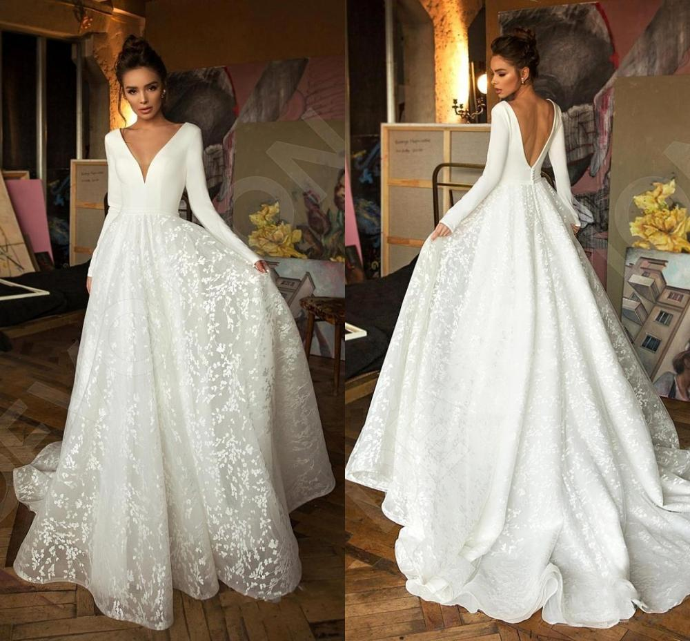 W-Robe de mariee Vintage Long Sleeve Lace Satin Dress for Wedding Party Sexy Deep V Neck Backless Bride Gowns 2020