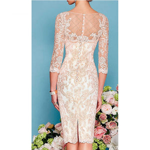 W-Light Pink Women's Mother of The Groom Dresses Tea Length Lace Mother of the Bride Dress with Jacket Formal Evening Gowns