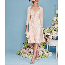 Load image into Gallery viewer, W-Light Pink Women's Mother of The Groom Dresses Tea Length Lace Mother of the Bride Dress with Jacket Formal Evening Gowns