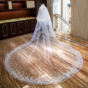 W-Two Tier White Ivory Wedding Veil Cathedral Length Lace Bridal Hair Accessory