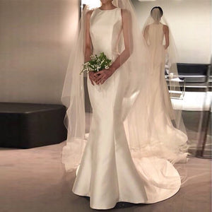 W-New Arrival Satin Dresses for Wedding Party O-neck Bridal Gowns Sweep Train vestido de noiva Mermaid Sheer Beach Wedding Guest