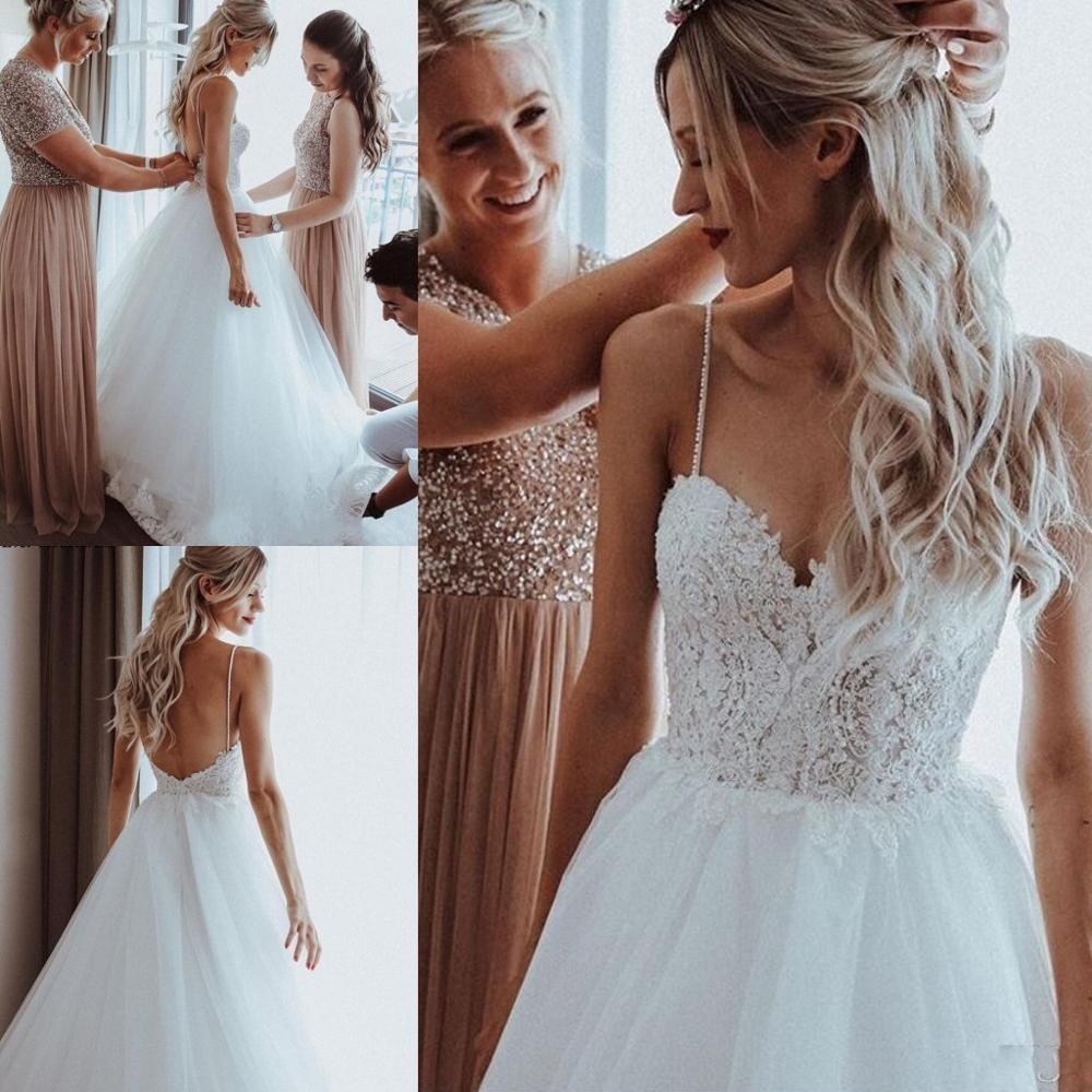 W-Lace Beach Dresses for Wedding Party 2020 Backless Appliques Pearls Spaghetti Straps Boho Bridal Gowns Robe De Mariee Cheap