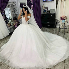 Load image into Gallery viewer, White Ivory Ball Gown Wedding Dresses Princess Elegant Plus Size Turkey Women Off Shoulder Bride Gowns Bridal Dresses