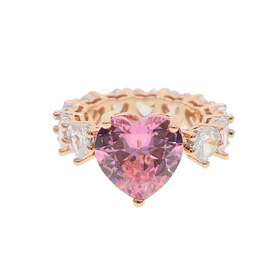 Wifey Material Heart Pink and Rose Gold Ring