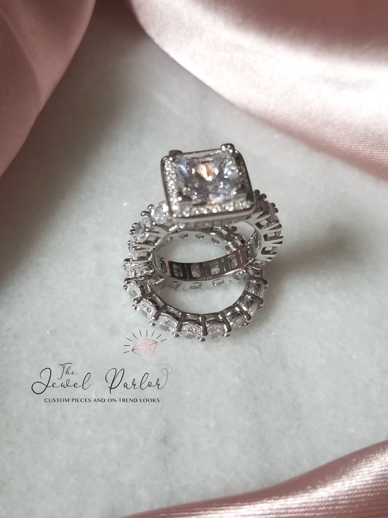 Betrothal Halo Princess Cut Ring + Eternity Band Set in Silver