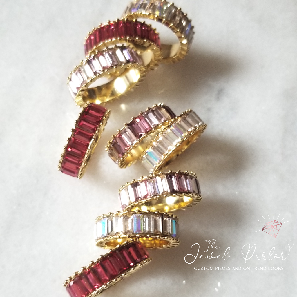 Aurora 3-Ring Baguette Crystal Stack
