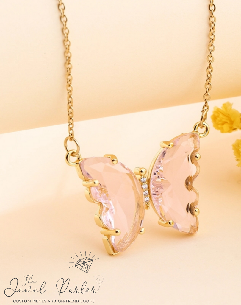 Evangeline Glass Butterfly Necklace • Blush
