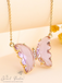 Evangeline Glass Butterfly Necklace • Lilac