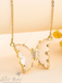 Evangeline Glass Butterfly Necklace • Clear