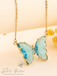 Evangeline Glass Butterfly Necklace • Teal