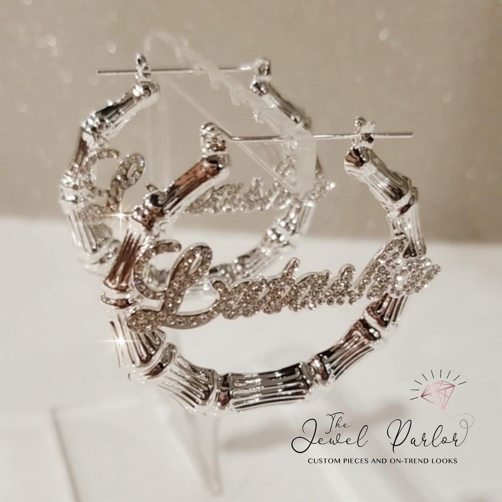 Deidra Custom Bamboo + Crystal Script Name Earrings