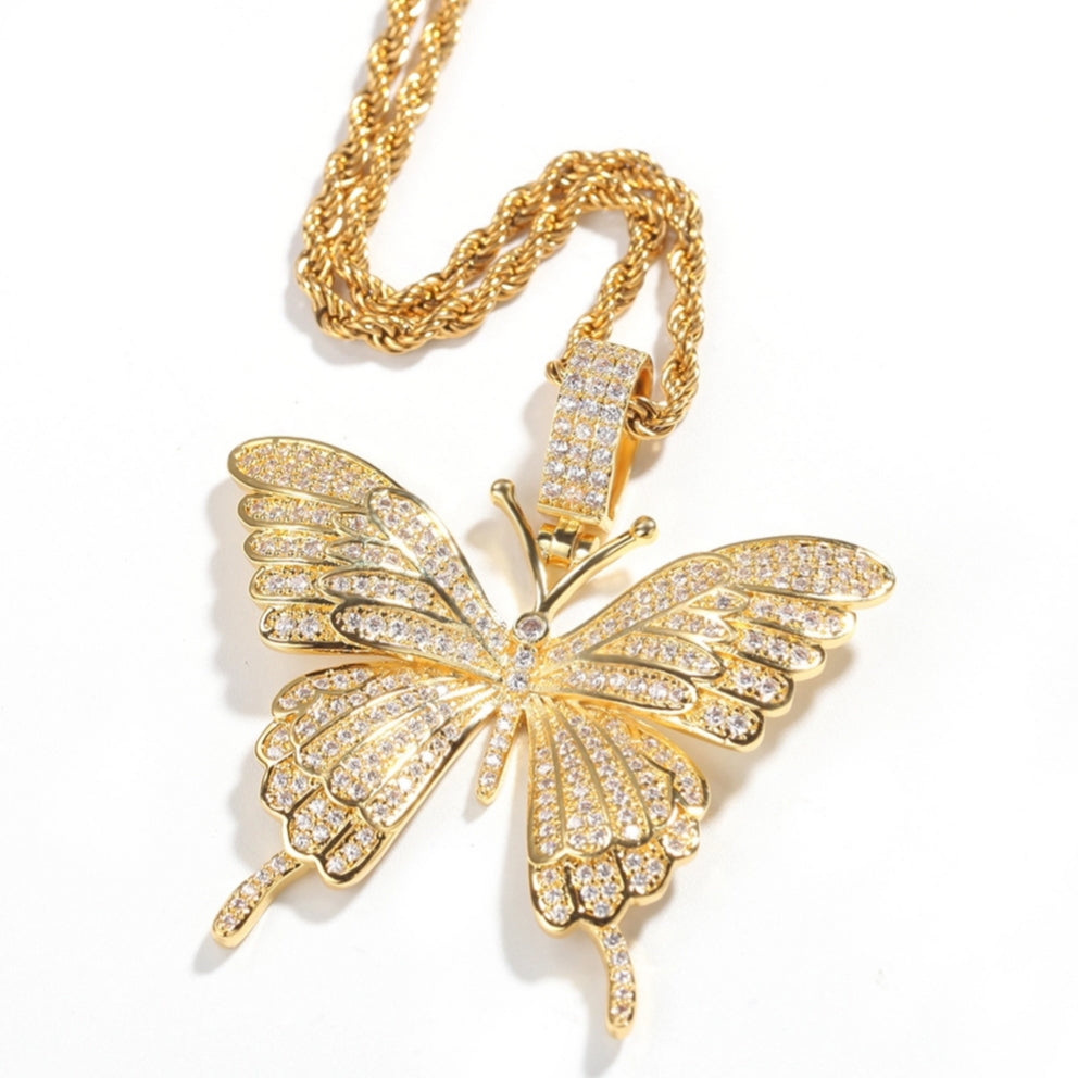 Monarchy Pavé Butterfly Pendant in Gold