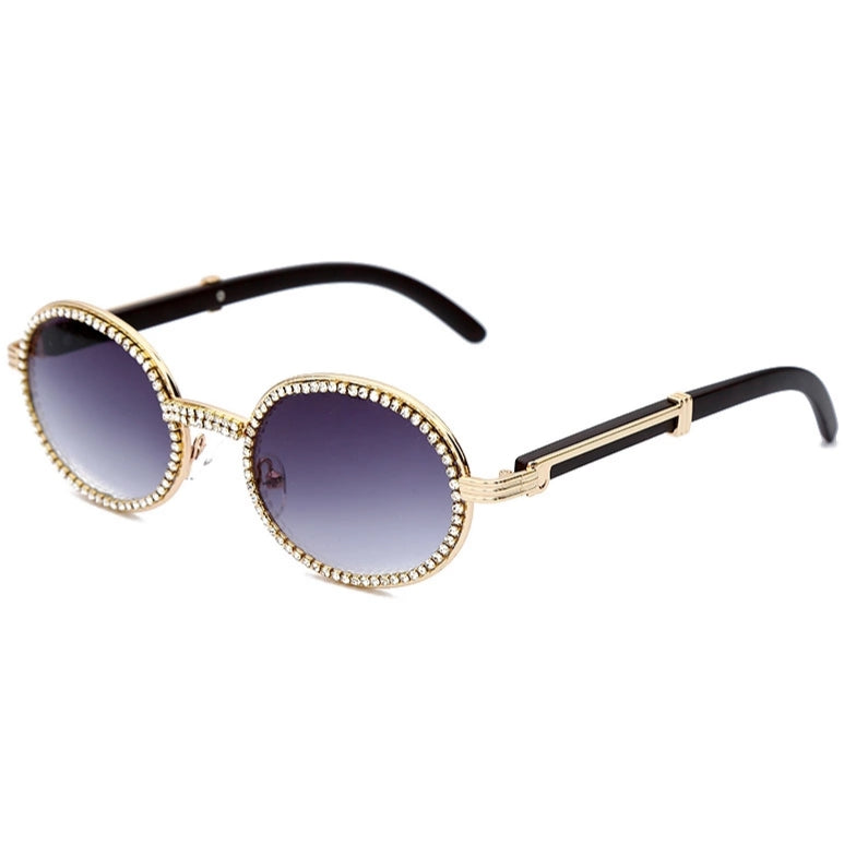 Q Vision Crystal and Gold Rimmed Sunglasses